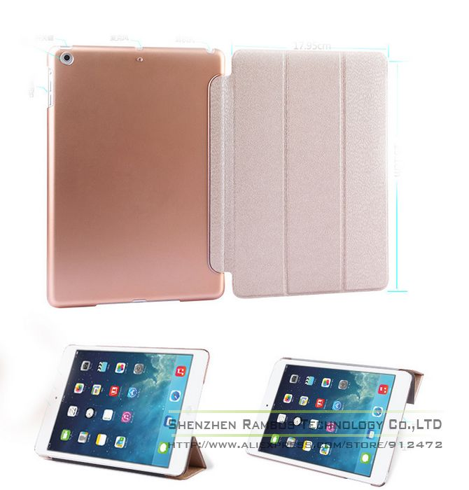 Trifold Smart Stand Ultra Thin Folio Cover Tablets e-Books Cases for iPad air 5 with Sleep Wake Up Function
