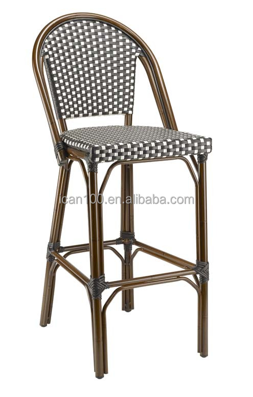 all-weather wicker/rattan french cafe bistro bar stool chairs