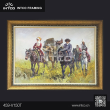 INTCO classic plastic gold framed grasslands canvas oil painting