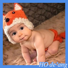 HOGIFT Best selling wholesale Orange Fox Photography props baby Clothing sets