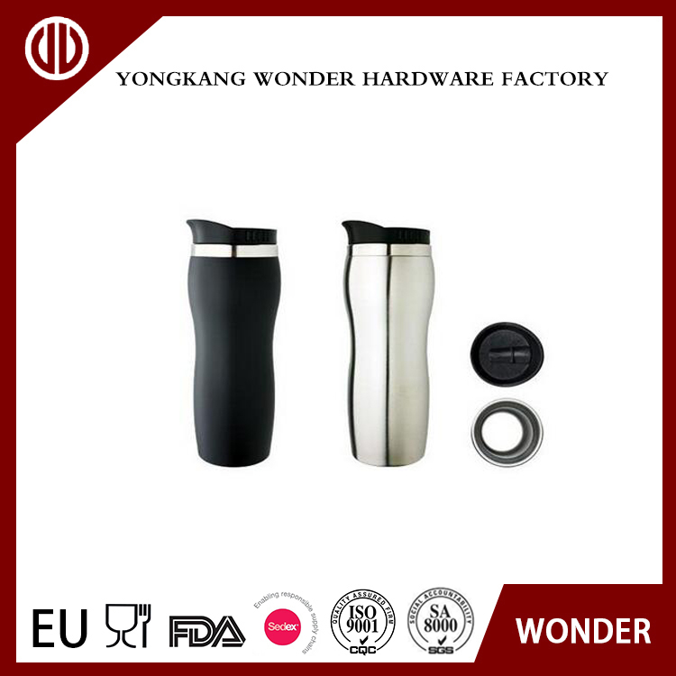 Double-wall Stainless steel peanut-shaped travel mug