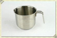 promotion kitchen stainless steel strainer milk pot with pouring lip/spout/cookware/cooking pot with wire handle