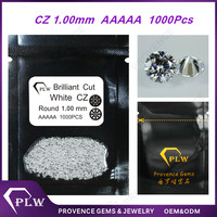 Wholesale price 1.0mm AAAAA grade round brilliant cut synthetic white cubic zirconia loose gems