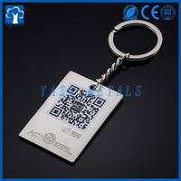 custom metal enamel keychain with QR code printing or laser