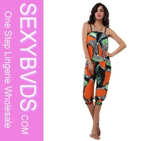 Sleeveless fashional jumpsuits for women 2014 orange