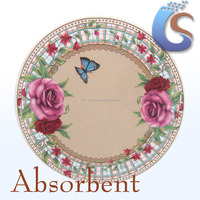 Rose design absorbent ceramic round coaster and placemat