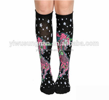 Knit-In X-Ray Unicorn Design and All Over Stars Knee High Sock