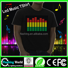 Hot selling Sound active animation el equalizer t-shirt,light up t-shirt