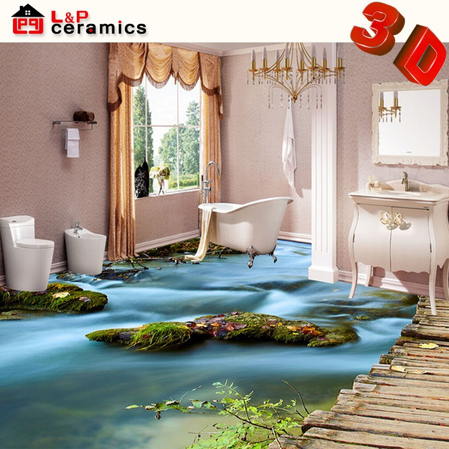 2015 sunrise style micro crystal porcelain 3d floor art bathroom