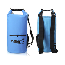 Factory Direct Sale 10L Waterproof 500D PVC Dry Bag with Zipper and Mesh Pocket