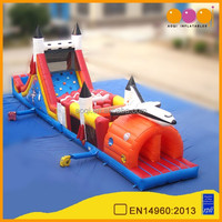 AOQI new style top quality cheap inflatable obstacle course multi purpose infltable slide with climbing wall for kid