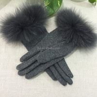 Vogue Style Fox Fur Trim Wool Knitted Gloves Winter Animal Fur Cuff Cashmere Knitting Fingers Mittens