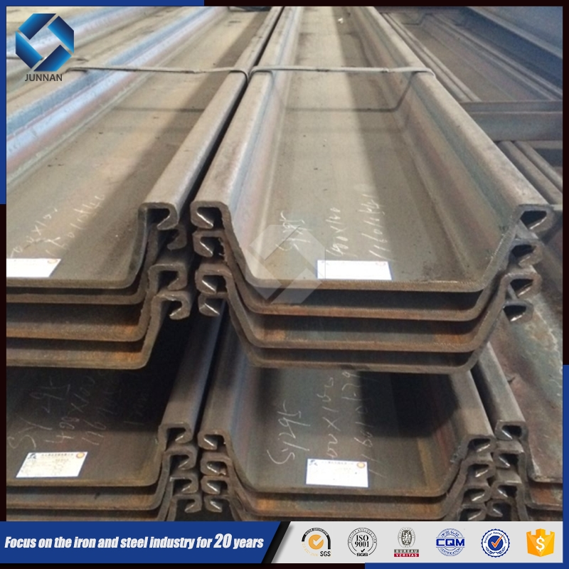 Tangshan JINXI Hot rolled SY295 larsen steel sheet pile for harbor construction