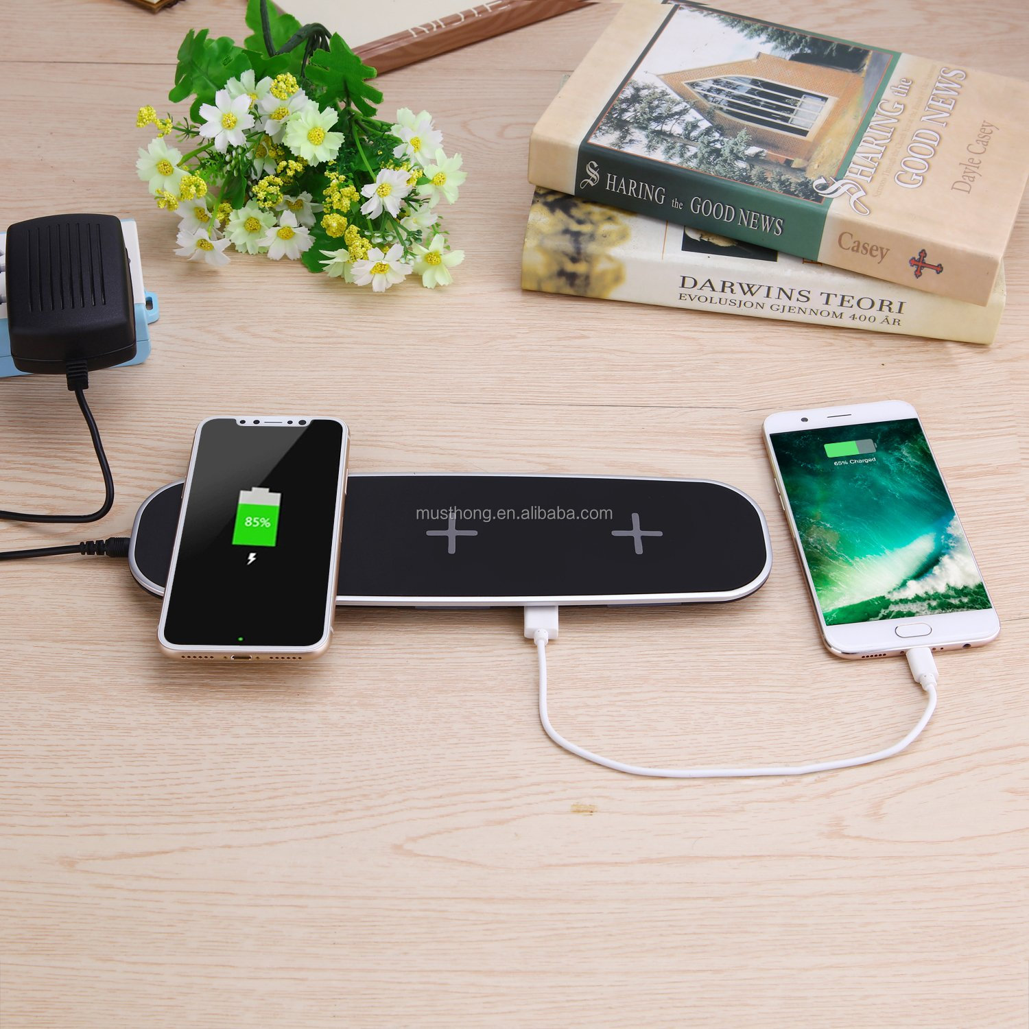 Triple Fast Wireless Charging Pad for iPhone X and Other Qi-enabled Device with 2 USB Port to Charge Five Devices Simultaneously