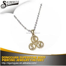 Latest Design Necklace 316 stainless steel fasion gear pendant,fashion jewelry