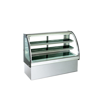 Curved glass 2 shelves cake cabinet bread display showcase