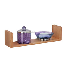 Modern Home Bamboo Floating U Shape Solid Wood Wall Shelf