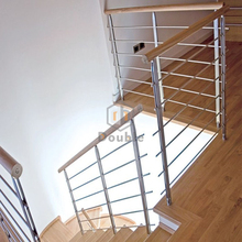 wooden handrail indoor stainless steel rod railing