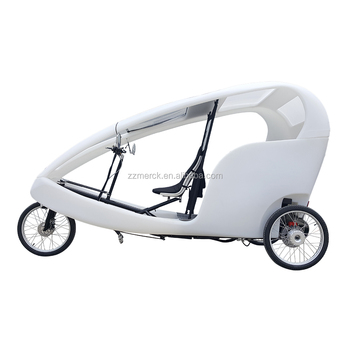 Green Power Tourism Passenger Velo Taxi Tricycle, Electric Battery Operated Pedicab Rickshaw For Sale