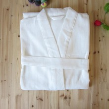 Summer Lightweight Long Unisex White Spa Cotton waffle robe