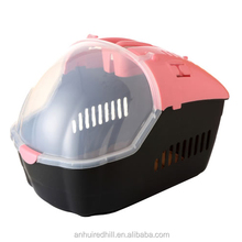 Low MOQ plastic handle pet carrier on wheels