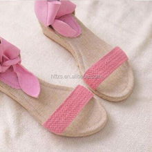 HFR-T0022 fashion flat summer sandals 2014 for women canvas china wholesale sandals