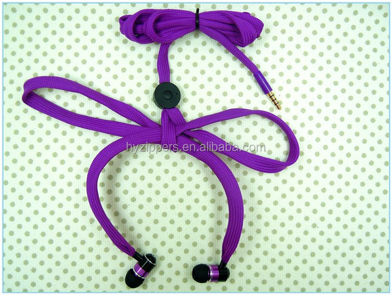 Gadget accessory 2014 hot sell shoestring earbud shoelace earphone with microphone for iphone samsung