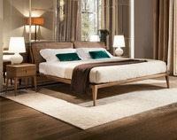 Chinese Style Antique Design Italian Leather Bed With Solid Wood Frame For Sale