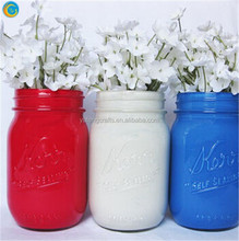 Red White and Blue Painted Mason Jar
