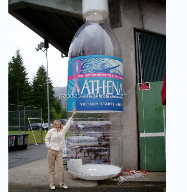 Transparent Inflatable Bottle Replica Balloon, Advertising Inflatable Bottle