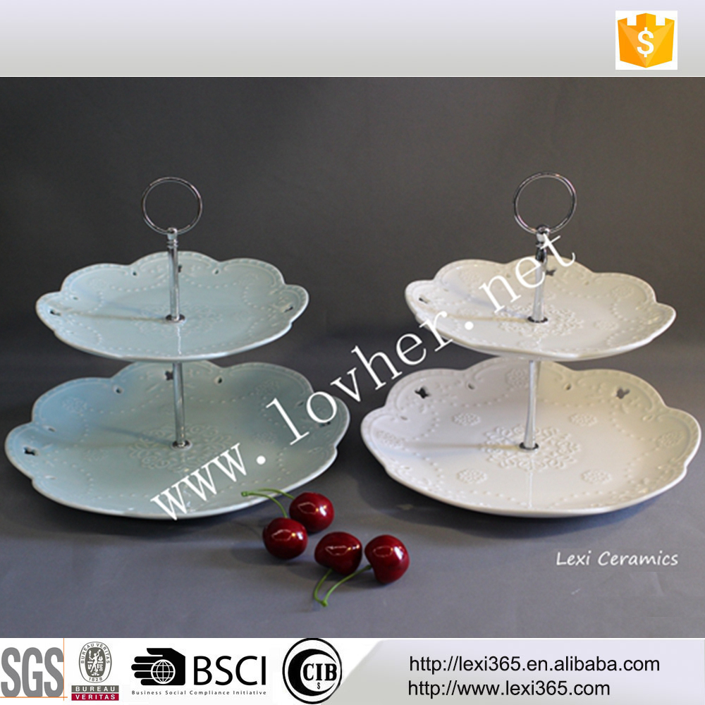 2 level layer porcelain cake plate with metal stand handle fitting for tea coffee for wedding party wholesaler