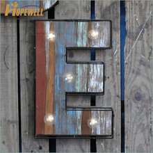 different style alphabet letter , metal wood led letter 'E' wall decor