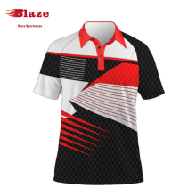 Custom striped different color collar embroidered polo shirt for women