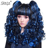 Crazy color cosplay wig blue wavy cute anime wig for girl