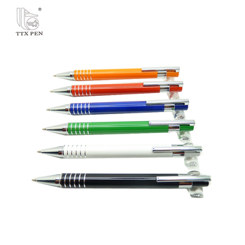 aluminum ball pen metal click action pen promotional colorful gift logo pen