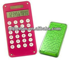 JH2039 pocket dual power 10 digit calculator with maze game