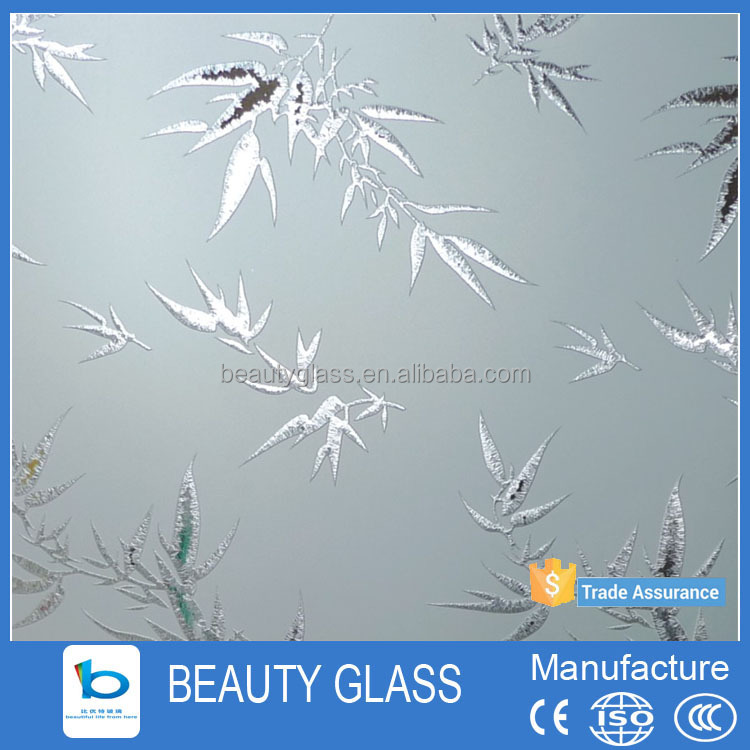 china supplier bathroom design acid etched glass for deli glass