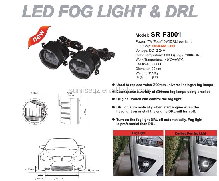 ECE MARK E9 HIGH POWER Chip LED FOG LAMPS WITH DRL, DAYTIME RUNNING LIGHT FUNCTION(SR-F3001)