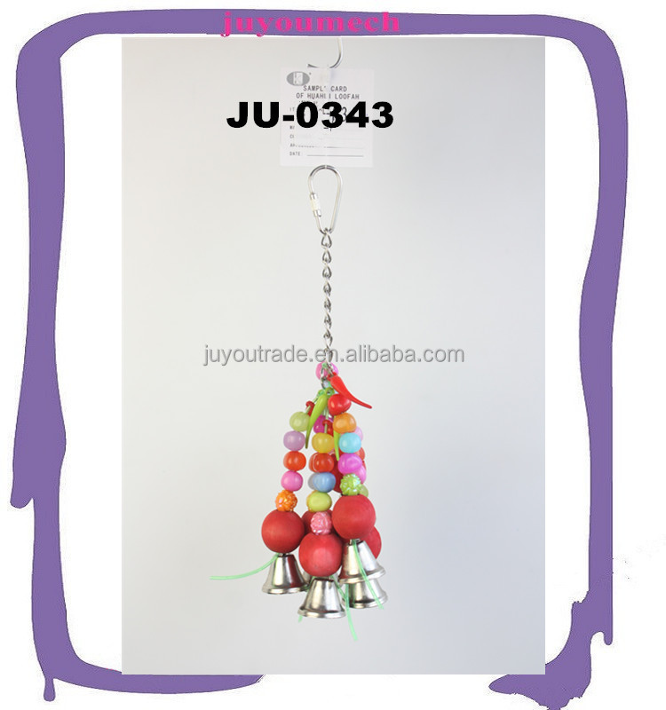Eco-friendly plastics beds wooden beds cages hanging parts with bells bird pet toys JU-0343