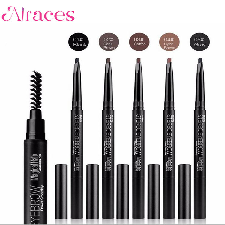 2017 Chinese supplier waterproof automatic eyebrow pencil liner eye brow pen with brush cosmetic private label makeup tools