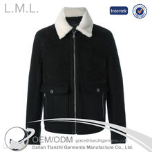 men faux leather cheap jacket with fur collar bomber jacket