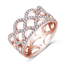 Engagement Wedding Rings CZ Diamond 18K Rose Gold Plated Fashion Brand Rhinestone Crown Ring Jewelry For Women anel Wholesale