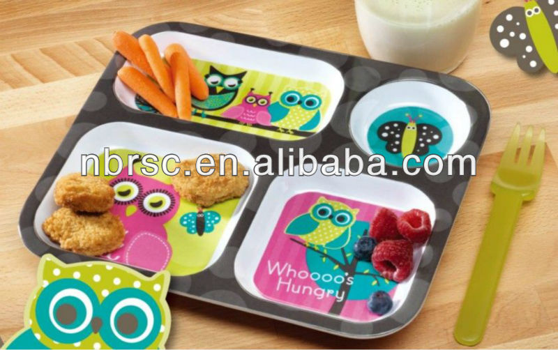 Owl Melamine Serving Tray FOR KIDS