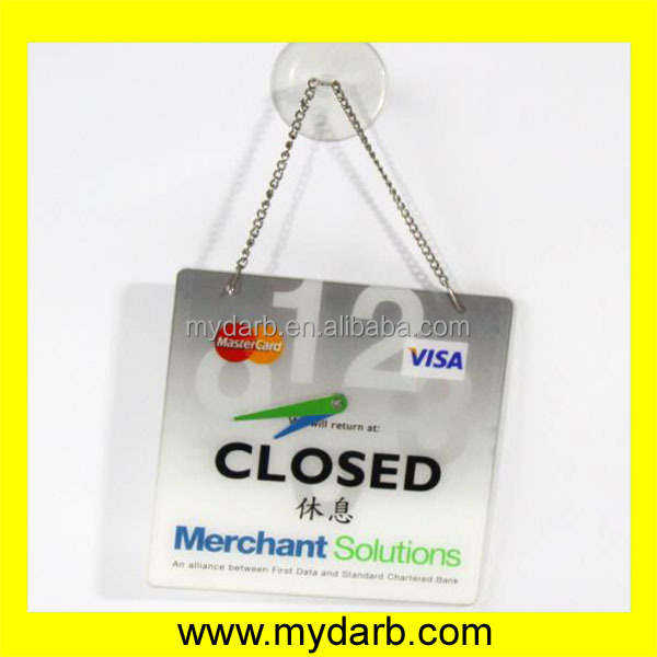 Black acrylic door sign with suction cup and metal chain