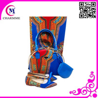 2015 Newest Ankara Wax set Design WBS-0038 blue color wax bag and shoes