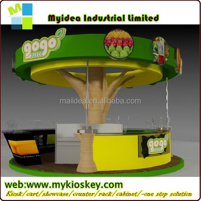round tree shape wooden smoothie kiosk design for mall