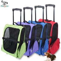 Double Using Outdoor Pet Travel Backpack Oxford Fabric Dog Trolley Case With Wheel