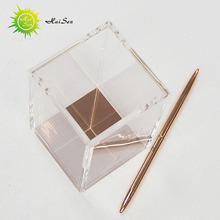handmade decorative pen container promotional rose gold expensive office pen holder