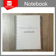 2016 hot sell outer clear PP cover spiral lined notebook wholesale A7 A6 A5 A4 B5