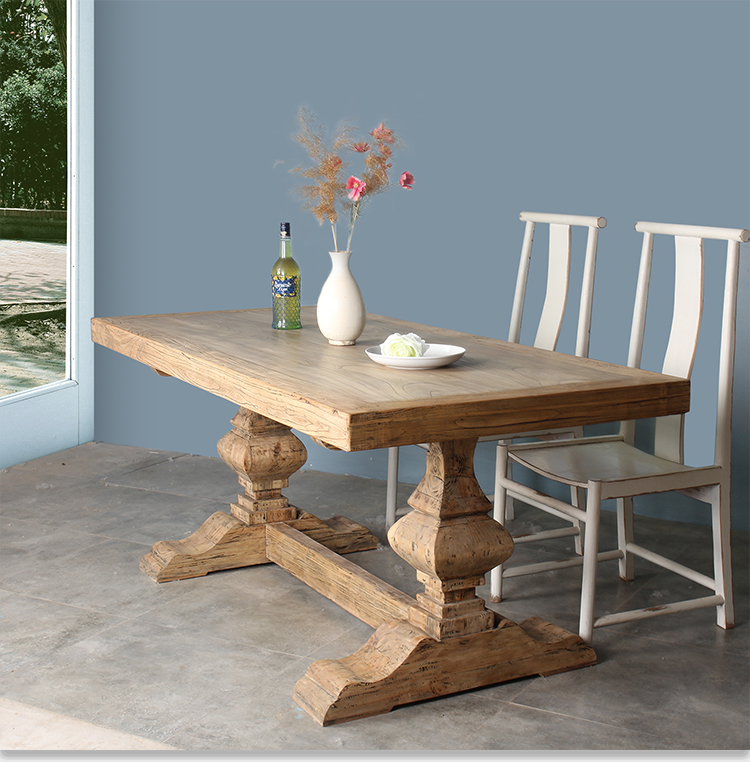 Popular long antique recycle solid wood dining table
